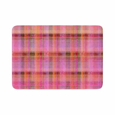 Carolyn Greifeld Watercolor Plaid Pattern Memory Foam Bath Rug Size: 0.5 H x 17 W x 24 D, Color: Pink/Yellow