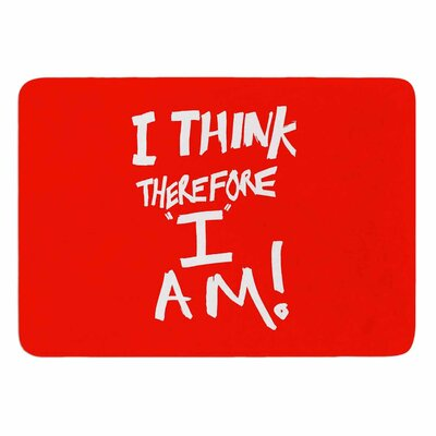 Bruce Stanfield I Think, Therefore I Am Memory Foam Bath Rug Color: Red/White