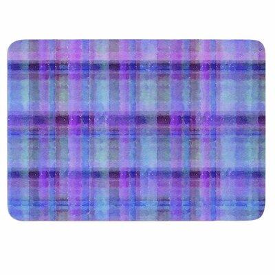 Carolyn Greifeld Watercolor Plaid Memory Foam Bath Rug Color: Blue/Purple