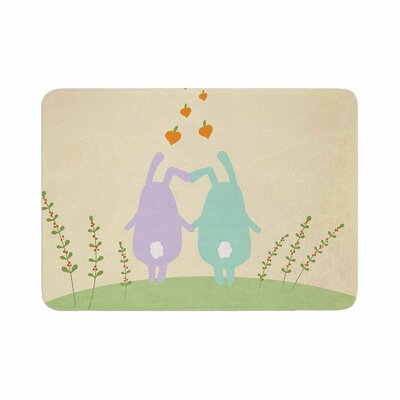 Cristina Bianco Design Cute Bunnies Animals Memory Foam Bath Rug Size: 0.5 H x 17 W x 24 D
