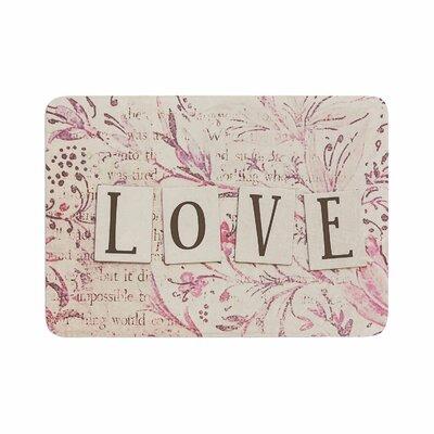 Debbra Obertanec Simply Love Typography Memory Foam Bath Rug Size: 0.5 H x 17 W x 24 D