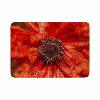 Ginkelmier Poppy Floral Memory Foam Bath Rug Size: 0.5 H x 17 W x 24 D