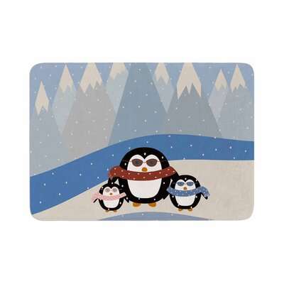 Cristina Bianco Design Cute Penguins Illustration Memory Foam Bath Rug Size: 0.5 H x 17 W x 24 D