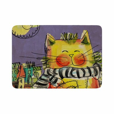 Carina Povarchik Urban Cat with Scarf Illustration Memory Foam Bath Rug Size: 0.5 H x 17 W x 24 D