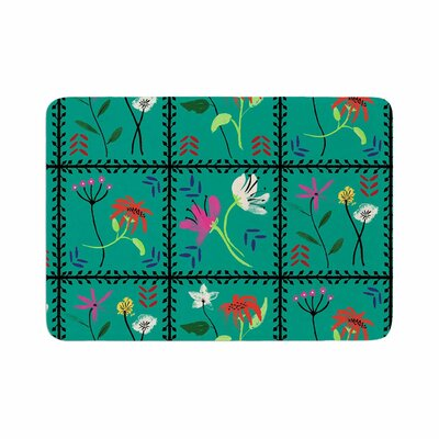DLKG Design Simple Garden Tiles Floral Coral Memory Foam Bath Rug Size: 0.5 H x 24 W x 36 D