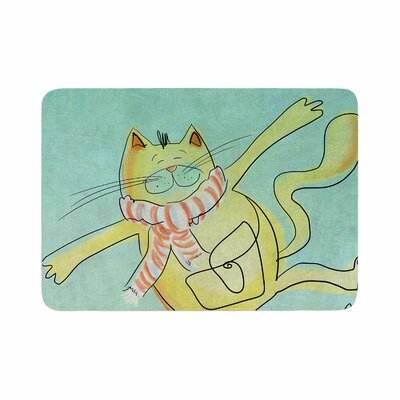Carina Povarchik Dancing Cat in the City Memory Foam Bath Rug Size: 0.5 H x 24 W x 36 D