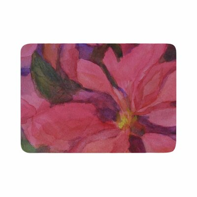 Cyndi Steen Cool Poinsettias Memory Foam Bath Rug Size: 0.5 H x 24 W x 36 D