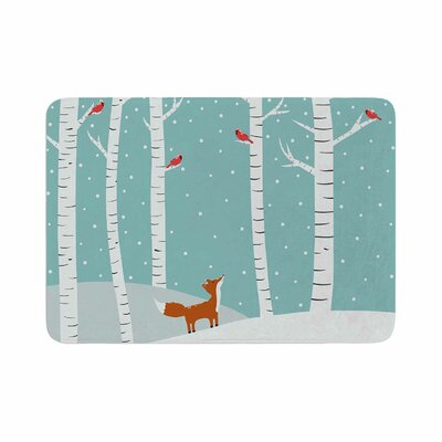Cristina Bianco Design Fox Cardinals Winter Kids Memory Foam Bath Rug Size: 0.5 H x 24 W x 36 D