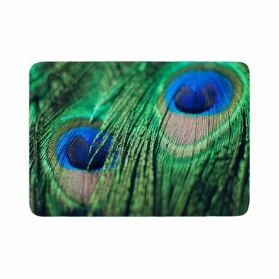 Peacock Feathers Memory Foam Bath Rug Size: 0.5 H x 24 W x 36 D