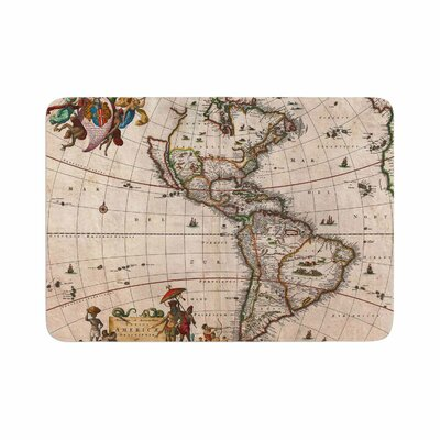 Bruce Stanfield Vintage Map of the Americas Memory Foam Bath Rug Size: 0.5 H x 24 W x 36 D