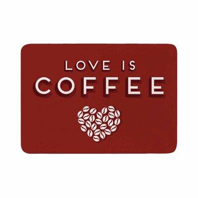 Busy Bree Coffee Love Typograph Memory Foam Bath Rug Size: 0.5 H x 24 W x 36 D