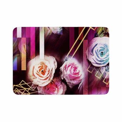 Dawid Roc Roses Floral Geometric Stripes Memory Foam Bath Rug Size: 0.5 H x 24 W x 36 D