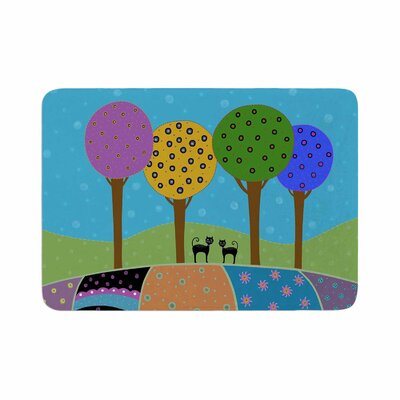 Cristina bianco Design Cats and Colorful Landscape Illustration Memory Foam Bath Rug Size: 0.5 H x 17 W x 24 D