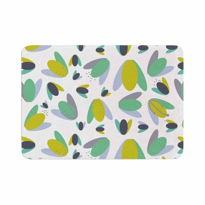 Love Midge 1970s Floral Geometric Neon Abstract Memory Foam Bath Rug Size: 0.5 H x 24 W x 36 D