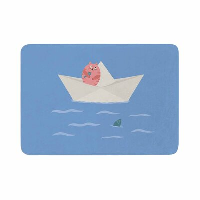 Cristina Bianco Design Cat and Paper Boat Memory Foam Bath Rug Size: 0.5 H x 17 W x 24 D