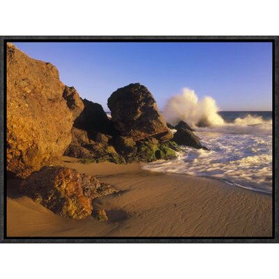 "'Waves Crashing on Point Dume Beach' Framed Photographic Print on Canvas Size: 12"" H x 16"" W x 1.5"" D URBH4791 38223552"