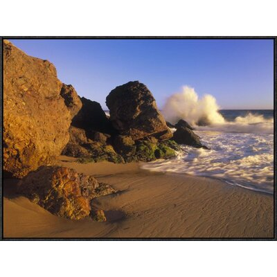 "'Waves Crashing on Point Dume Beach' Framed Photographic Print on Canvas Size: 24"" H x 32"" W x 1.5"" D URBH4791 38223554"