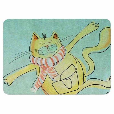 Carina Povarchik Dancing Cat in the City Memory Foam Bath Rug