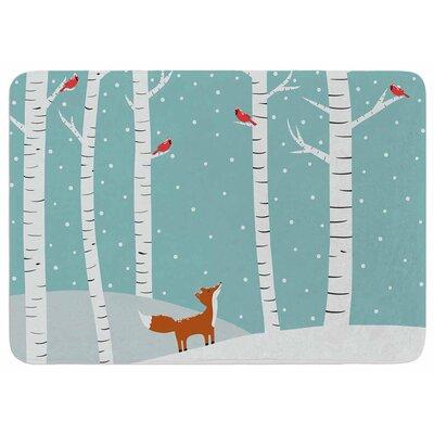 Cristina Bianco Design Fox Cardinals Winter Memory Foam Bath Rug
