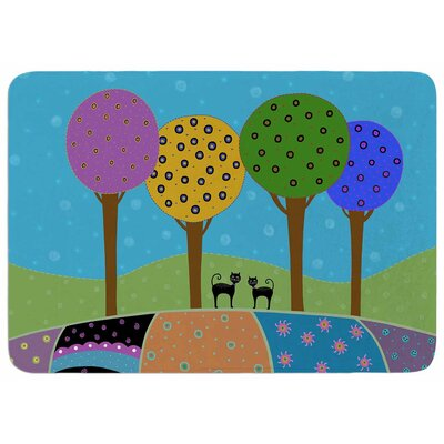 Cristina Bianco Design Cats and Colorful Landscape Memory Foam Bath Rug