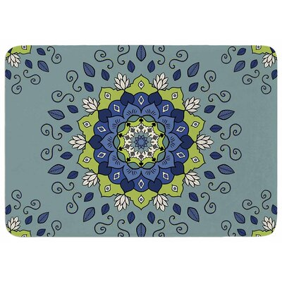 Cristina Bianco Design Blue and Green Mandala Memory Foam Bath Rug