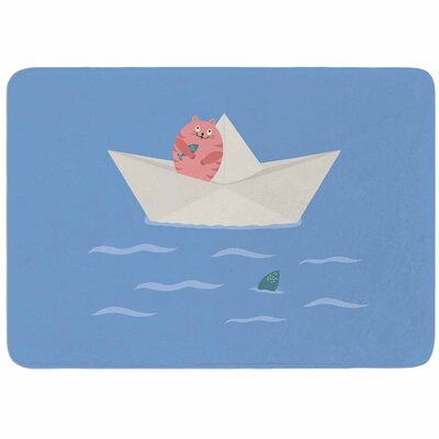 Cristina Bianco Design Cat and Paper Boat Memory Foam Bath Rug