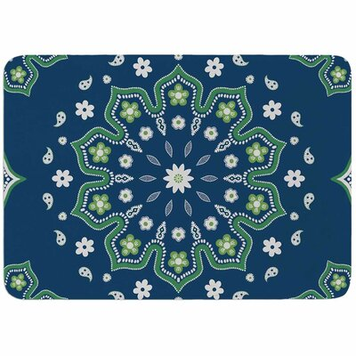 Cristina Bianco Design Blue and Green Mandala Design Memory Foam Bath Rug