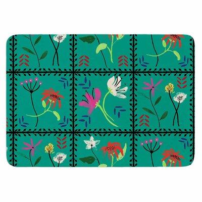 DLKG Design Simple Garden Tiles Memory Foam Bath Rug