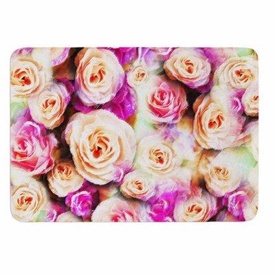 Dawid Roc Sweet Pastel Pink Rose Flowers Memory Foam Bath Rug