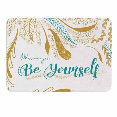 Famenxt Always Be Yourself Gold Memory Foam Bath Rug Color: Teal/Gold