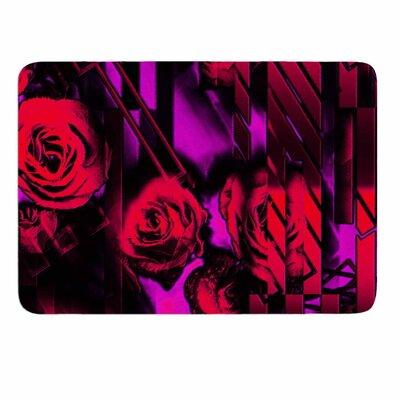 Dawid Roc Red Roses-Flower Geometric Memory Foam Bath Rug