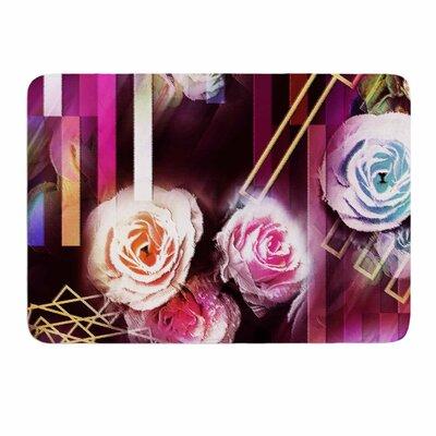 Dawid Roc Roses-Floral Geometric Stripes Memory Foam Bath Rug