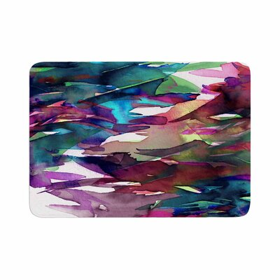 Ebi Emporium Fervor 4 Magenta Abstract Memory Foam Bath Rug
