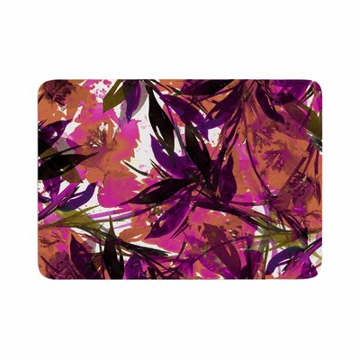 Ebi Emporium Floral Fiesta Plum Watercolor Painting Memory Foam Bath Rug Size: 0.5 H x 24 W x 36 D