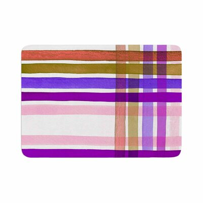 Ebi Emporium Plaid Stripes in Color 6 Memory Foam Bath Rug Size: 0.5 H x 24 W x 36 D