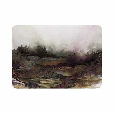 Ebi Emporium The Long Road 1 Maroon Olive Watercolor Memory Foam Bath Rug