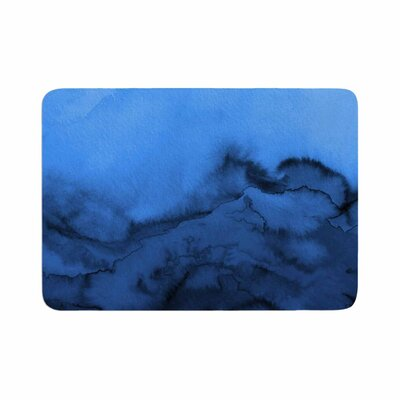 Ebi Emporium Winter Waves, Shades Painting Memory Foam Bath Rug Size: 0.5 H x 24 W x 36 D, Color: Blue