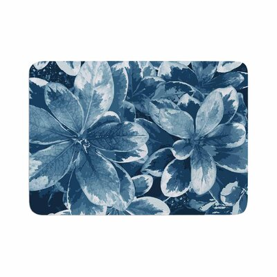 Julia Grifol Leaves Floral Memory Foam Bath Rug Size: 0.5 H x 24 W x 36 D, Color: Blue