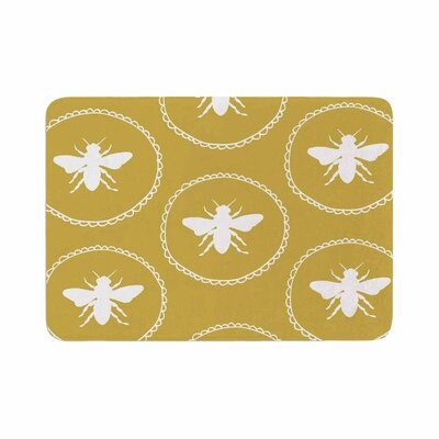 Jennifer Rizzo Busy As a Bee and Maize Memory Foam Bath Rug Size: 0.5 H x 17 W x 24 D, Color: Yellow/White