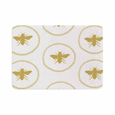 Jennifer Rizzo Busy As a Bee and Maize Memory Foam Bath Rug Size: 0.5 H x 24 W x 36 D, Color: White/Maize gold