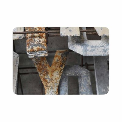 Jennifer Rizzo Patina Letters Memory Foam Bath Rug Size: 0.5 H x 24 W x 36 D