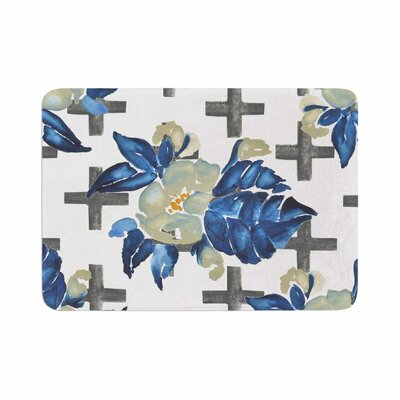 Jennifer Rizzo Plus Sign Floral Memory Foam Bath Rug Size: 0.5 H x 24 W x 36 D