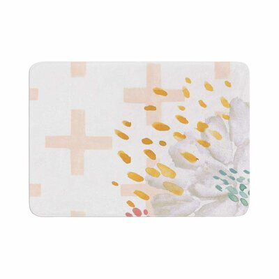 Jennifer Rizzo Bright and Pretty Coral Floral Memory Foam Bath Rug Size: 0.5 H x 17 W x 24 D