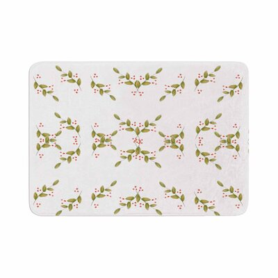 Jennifer Rizzo Holiday Holly Berries Floral Memory Foam Bath Rug Size: 0.5 H x 24 W x 36 D