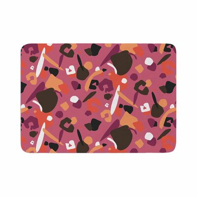 Luvprintz Abstract Leopard Memory Foam Bath Rug Size: 0.5 H x 17 W x 24 D, Color: Brown/Pink