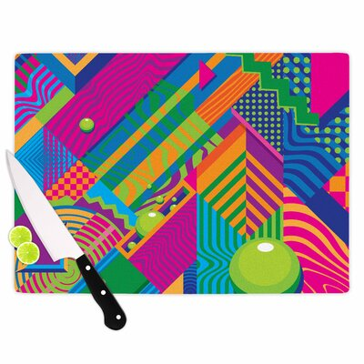 """Image of Roberlan Glass 'the Fountain Abstract Pop Art' Cutting Board Size: 0.25"""" H x 11.5"""" W x 8.25"""" D"""