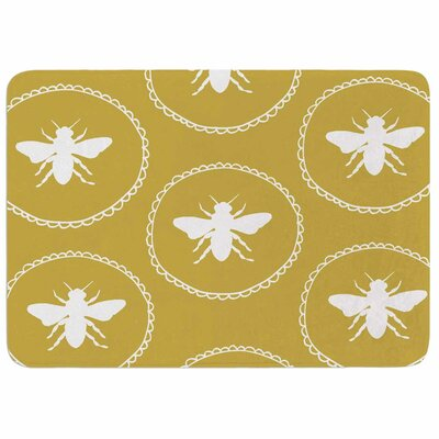 Jennifer Rizzo Busy as a Bee and Maize Nature Memory Foam Bath Rug Color: White/Maize Gold