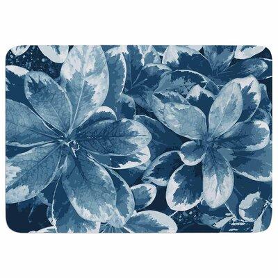 Julia Grifol Leaves in Floral Memory Foam Bath Rug Color: Blue