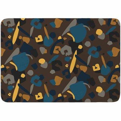 Luvprintz Abstract Leopard Memory Foam Bath Rug Color: Teal/Brown