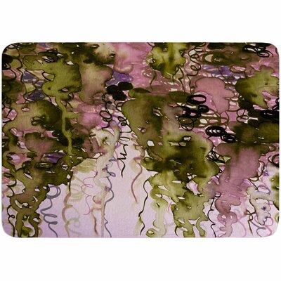 Ebi Emporium Beauty in the Rain Plum Memory Foam Bath Rug Color: Olive/Pink